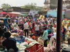 लॉकडाउन की सूचना पर बाजार में उमड़ी भीड़, कोविड नियमों की हुई जमकर अनदेखी; लोगों से वसूले जा रहे दोगुने दाम|छिंदवाड़ा,Chhindwara - Dainik Bhaskar