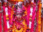 वाराणसी में नवरात्र के पहले दिन शैलपुत्री मंदिर में उमड़ी भीड़, भक्तों ने महामारी से मुक्ति की कामना की|वाराणसी,Varanasi - Dainik Bhaskar