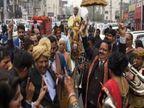 बगैर अनुमति की शादी में बुला ली भीड़, धूम-धड़ाके के साथ सोशल डिस्टेंसिंग को हवा में उड़ाया जबलपुर,Jabalpur - Dainik Bhaskar