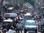अलवर शहर के कटला व भटियारों की गली में जाम, निकलन को जगह नहीं, सामान के साथ वायरस ले जा रहे|अलवर,Alwar - Dainik Bhaskar