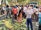 2 बजे के बाद भी सब्जी बेच रहे लोगों की पुलिस ने की पिटाई, नाराज किसानों ने सब्जियां सड़क पर फेंकी; एक घंटे किया रोड जाम|झारखंड,Jharkhand - Dainik Bhaskar