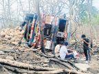 बरगी क्षेत्र के बंजारी घाटी में हादसा, नांदेड़ से हल्दी लोड कर जा रहा था असम, एक की मौत, 5 घायल|जबलपुर,Jabalpur - Dainik Bhaskar