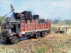 चालक को पता नहीं चला बारदान से भरे ट्रक में लग रही थी आग, हादसा टला|महिदपुर,Mahidpur - Dainik Bhaskar