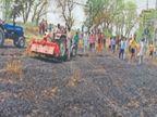ट्रांसफार्मर से निकली चिंगारी से लगी आग चार एकड़ में गेहूं की फसल जलकर राख|खन्ना,Khanna - Dainik Bhaskar