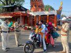 मोटरसाइकिल पर 6 लोग बैठे देखकर पुलिस ने भी जोड़ लिए हाथ , पुलिसकर्मी बोले : धन्य हो प्रभु|गुना,Guna - Dainik Bhaskar