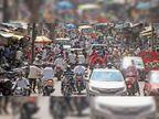 8 घंटे किराना की छूट मिलते ही बाजार में उमड़ी भीड़, एमजी राेड पर दाे घंटे रहा प्रमुख पर्वाें जितना ट्रैफिक|महू,Mhow - Dainik Bhaskar