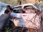 बारात में जा रही कार रांग साइड जाकर सड़क किनारे बबूल के पेड़ में घुसी, अगला हिस्सा चकनाचूर; कार में फंसे ड्राइवर के शव को आधे घंटे बाद निकाला जा सका इंदौर,Indore - Dainik Bhaskar