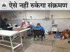 पानीपत सिविल अस्पतालमें बेड खत्म, एक बेड पर दो मरीज; जमीन पर लेटकरइलाज करा रहे कोरोना पेसेंट|पानीपत,Panipat - Dainik Bhaskar