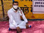 राज्य वनमंत्री विश्नोई के पुत्र पीड़ित परिवार के साथ बैठे धरने पर, SP को हटाने की मांग|पाली,Pali - Dainik Bhaskar