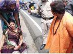 सांसद साध्वी प्रज्ञा सिंह ठाकुर ने घायल महिला को अपनी कार से अस्पताल पहुंचाया; अस्पताल ले जाते वक्त स्ट्रेचर से नीचे गिरने से बची|भोपाल,Bhopal - Dainik Bhaskar