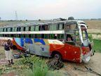 फर्रुखाबाद से जयपुर जा रही बस का लखनऊ एक्सप्रेस वे पर टूटा एक्सल, 13 सवारी घायल|आगरा,Agra - Dainik Bhaskar