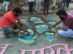 आरा की सड़कों पर 3 राज्यों से आए कलाकारों ने स्ट्रीट आर्ट पेंटिंग के जरिए दिया कोरोना जागरूकता का संदेश|भोजपुर,Bhojpur - Dainik Bhaskar
