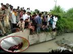 हसायन में नहर में निकल रही अलीगढ़ में फेंकी गई शराब, ग्रामीण एकत्र कर रहे, पुलिस ने कब्जे में ली|आगरा,Agra - Dainik Bhaskar