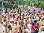 मोहाली में सेहत मंत्री का आवास घेरने जा रहे आप वर्करों और पुलिस में धक्का-मुक्की|मोहाली,Mohali - Dainik Bhaskar