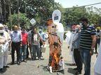 जालंधर में कांग्रेस MLA ने समर्थकों संग खड़काए खाली बर्तन, केंद्र सरकार का पुतला फूंका|जालंधर,Jalandhar - Dainik Bhaskar