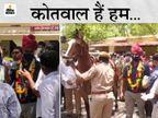 जोधपुर DCP के फेयरवेल में खूब बजे बैंडबाजे; घोड़े पर निकली सवारी, सोशल डिस्टेंसिंग भी भूल गए पुलिसकर्मी|जोधपुर,Jodhpur - Dainik Bhaskar