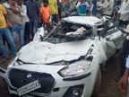 चलती कार पर पलटा धान से भरा ट्रक, एक घंटे तक दबे रहे 5 लोग, दो गंभीर; चचेरे भाई को दिखाकर अस्पताल से लौट रहे थे|छत्तीसगढ़,Chhattisgarh - Dainik Bhaskar