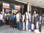 जयपुर में बस स्टैंड पर टिकट विंडों पर यात्रियों की लंबी लाइनें लगी, सफर से पहले सवारियों की थर्मल स्क्रीनिंग, बसें सेनेटाइज होकर चली|जयपुर,Jaipur - Dainik Bhaskar