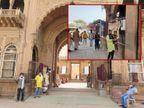15 अप्रैल को बंद हुए मंदिर के पट 55 दिन बाद खुले, सोशल डिस्टेंसिंग के पालन के साथ हुए दर्शन|मथुरा,Mathura - Dainik Bhaskar