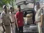 संदिग्ध कार के साथ एक युवक को पुलिस ने पकड़ा, तलाशी में मिले 236 पाव देशी व 80 पाव अग्रेजी के, चुरहट से आई थी शहर में बिकने|रीवा,Rewa - Money Bhaskar