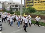 सभापति के साथ युवाओं व बच्चों ने तिरंगे झंडे के साथ लगाई दौड़, लोगों को कोरोना काल में फिट रहने का दिया संदेश डूंगरपुर,Dungarpur - Money Bhaskar