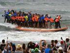 एकाच वेळी ६६ लोकांनी सर्फिंग बोर्डवर उभे राहून साकारला World Record|विदेश,International - Divya Marathi