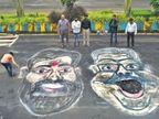 पावसानंतर मुंबईच्या रस्त्यांवर खड्ड्यांचे साम्राज्य, लोकांनी त्यातच मंत्र्यांचे चित्र काढून केले आंदोलन|मुंबई,Mumbai - Divya Marathi