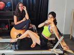 जान्हवी कपूरचे जिममधील फोटो झाले व्हायरल, सोशल मीडिया यूजर्स करत आहेत कौतुक  - Divya Marathi
