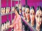 दुष्काळ, मंदीच्या छायेत ज्येष्ठा गौरींचे आगमन; निम्म्या किमतीत मुखवट्यांची विक्री| - Divya Marathi