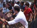 ઘાયલ પત્રકારને રાહુલ એમ્બ્યુલન્સ સુધી લઈ ગયા, પ્રિયંકાએ બૂટ ઊંચક્યા| - Divya Bhaskar