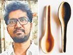 વડોદરા શહેરના 25 વર્ષીય યુવકે પ્લાસ્ટિકને બદલે ભોજનમાં ખાઈ શકાય તેવી ચમચી બનાવી| - Divya Bhaskar