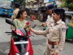 નિયમોનું પાલન કરાવવા માટે પોલીસની ગાંધીગીરી,વાહનચાલકોને ગુલાબ આપ્યાં|સુરત,Surat - Divya Bhaskar