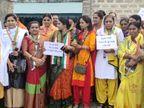 રાજકોટ / ટ્રાફિકનાં નવા નિયમનાં વિરોધમાં મહિલા કોંગ્રેસનો RTO કચેરીમાં તપેલા પહેરી વિરોધ, 8 મહિલાની અટકાયત  - Divya Bhaskar