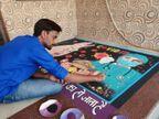 યુવકે રંગોળી બનાવી કોરોના વોરિયરોને સલામી આપી ઓલપાડ,Olpad - Divya Bhaskar