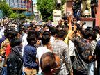પોલીસે ઘોડાને ફડાકો માર્યાના મામલે કરણી સેના મેદાનમાં, સોશિયલ ડિસ્ટન્સના અભાવ સાથે વિરોધ કરી રેલી યોજી|રાજકોટ,Rajkot - Divya Bhaskar