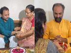 ગાયક હેમંત ચૌહાણ, ક્રિકેટર રવિન્દ્ર જાડેજાના પત્ની રીવાબા અને હાસ્ય કલાકાર સાંઈરામ દવેએ રક્ષાબંધનની ઉજવણી કરી|રાજકોટ,Rajkot - Divya Bhaskar