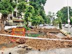 અંકુર ચારસ્તા પાસે 10 દિવસથી ભૂવો પુરાતો નથી, ગટરનું પાણી સતત નીકળતું હોવાથી લોકો ત્રસ્ત, એક તરફનો રોડ પણ બંધ|અમદાવાદ,Ahmedabad - Divya Bhaskar