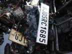 વરાછામાં દારૂ ભરેલી કારમાં આગ લાગી હતી તેમાંથી બીજી એક નંબર પ્લેટ મળી|સુરત,Surat - Divya Bhaskar
