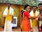 તમિલનાડુમાં લગ્નમાં સ્વર્ગીય પિતાની ગેરહાજરી દૂર કરવા બહેને અનોખી રીત શોધી, ભેટ તરીકે પિતાની પ્રતિમા આપી દુલ્હનના ચહેરા પર સ્મિત રેલાવ્યું|લાઇફસ્ટાઇલ,Lifestyle - Divya Bhaskar