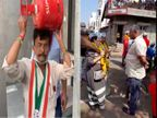 રાજકોટમાં કોંગ્રેસે ગેસના બાટલા સાથે તો 'આપ'નો સાવરણા સાથે પ્રચાર|રાજકોટ,Rajkot - Divya Bhaskar