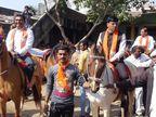 અમરેલીમા મનસુખ માંડવિયાએ ઘોડા પર સવાર થઈ ચૂંટણી પ્રચાર કર્યો, માસ્ક પહેરવાનું ભૂલ્યા|અમરેલી,Amreli - Divya Bhaskar