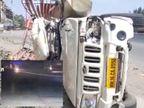 સુરત નજીક નેશનલ હાઈ વે પર ફૂલ સ્પીડમાં દોડતી પિકઅપ ગાડી રસ્તો ક્રોસ કરતાં ટ્રકના સાથે અથડાઈ, એક્સિડન્ટ CCTVમાં કેદ|સુરત,Surat - Divya Bhaskar