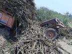 સાયણમાં શેરડી ભરેલું ટ્રેક્ટર ખાડામાં ખાબકતાં કચડાયેલા 2 મોતને ભેટ્યા, ખેતરમાંથી શેરડી ભરી સુગરમાં જતી વેળા અકસ્માત ઓલપાડ,Olpad - Divya Bhaskar