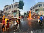 અમદાવાદીઓએ ઈકો ફ્રેન્ડલી હોળી પ્રગટાવી, રાત્રિ કર્ફ્યૂ હોવાથી સુર્યાસ્ત પહેલા જ હોળીના દર્શન કર્યાં|અમદાવાદ,Ahmedabad - Divya Bhaskar