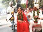 ચેન્નાઈમાં માધુરી અને આદિત્યના લગ્નમાં ઇલેક્ટ્રિક સાઈકલ પર જાન આવી, તુલસીની વરમાળા અને મહેમાનોને ગિફ્ટમાં છોડ આપ્યા|લાઇફસ્ટાઇલ,Lifestyle - Divya Bhaskar
