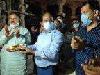કોરોનાગ્રસ્ત થયેલા પ્રદીપસિંહ જાડેજાના જલ્દી સ્વસ્થ થઈને પરત ફરે તે માટે નીલકંઠ મહાદેવ મંદિર મહાઆરતી કરી|અમદાવાદ,Ahmedabad - Divya Bhaskar