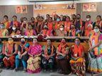 મહેસાણામાં ભાજપની મહિલાઓ કોરોના ભૂલી સંમેલનમાં જોડાઈ, કોરોના ગાઈડ લાઈનના ધજાગરા ઉડ્યા|મહેસાણા,Mehsana - Divya Bhaskar