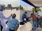 ડ્રાઈવ થ્રુ ટેસ્ટિંગમાં લાઇન થતાં લોકો ગાડી પાર્ક કરીને વોલ્ક ઇનમાં ટેસ્ટ કરાવવા આવ્યા, એક ખુરશી પર જ અનેક લોકો બેઠા અમદાવાદ,Ahmedabad - Divya Bhaskar
