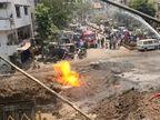 સુરતના નાનપુરામાં સ્ટ્રોમ વોટરની પાઈપલાઈનના ખોદકામ દરમિયાન ગેસ પાઈપ લાઈનમાં ભંગાણ થતા આગ લાગી|સુરત,Surat - Divya Bhaskar