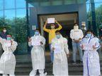 અમદાવાદમાં NSUIના આગેવાનોએ PPE કીટમાં ધોરણ 10ના રીપીટર વિદ્યાર્થીઓની પરીક્ષા રદ કરવા દેખાવો કર્યા|અમદાવાદ,Ahmedabad - Divya Bhaskar